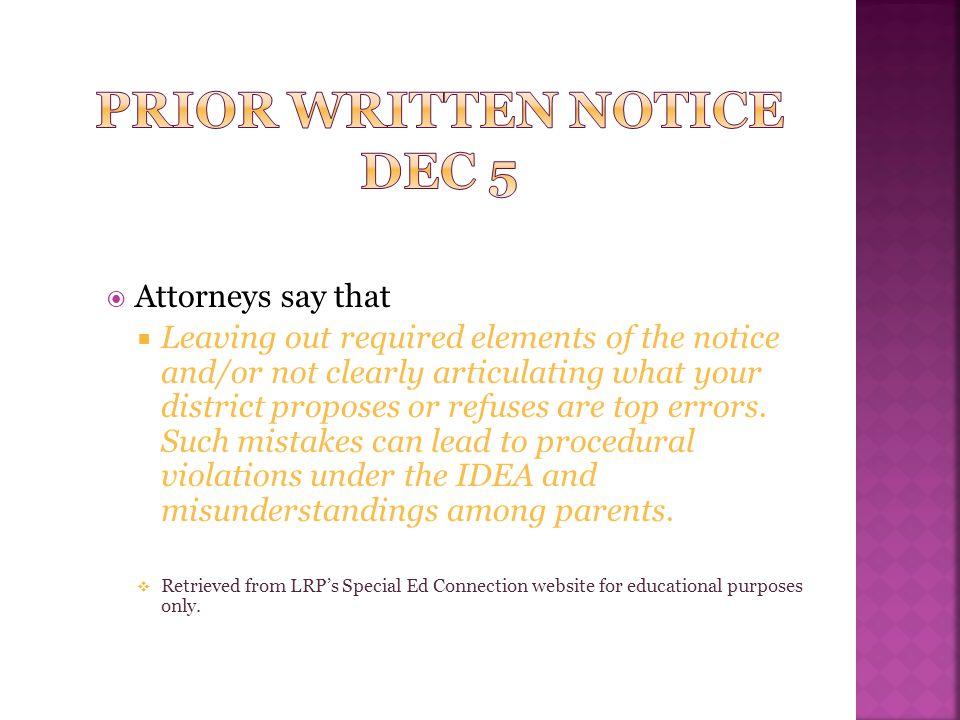 Prior Written Notice DEC 5