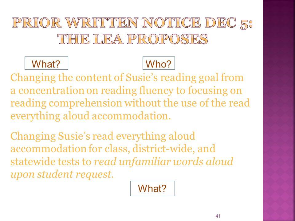 Prior Written Notice DEC 5: The lea proposes