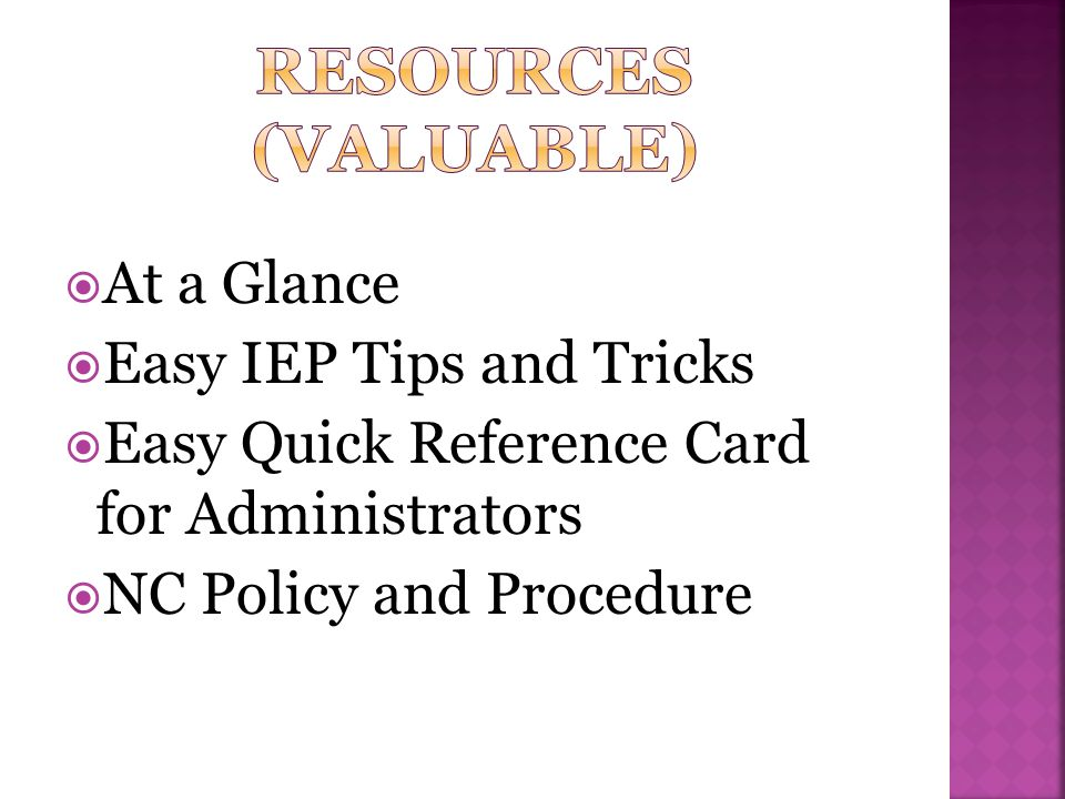 Resources (valuable) At a Glance Easy IEP Tips and Tricks