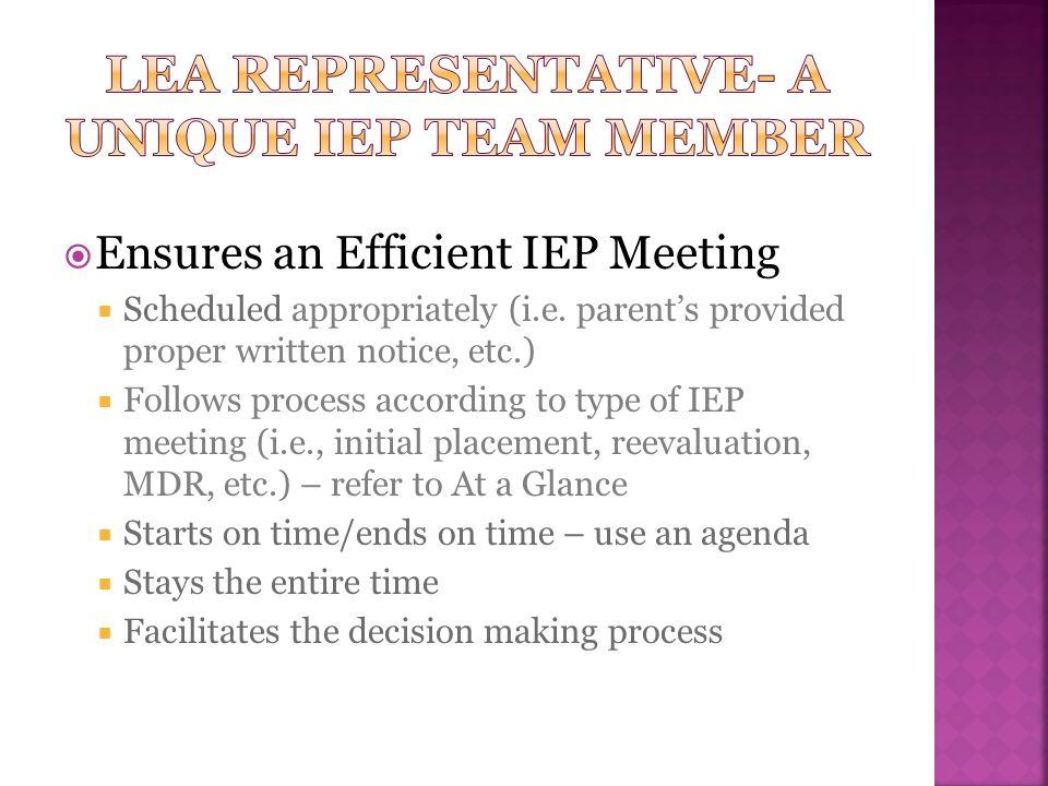 LEA Representative- A Unique IEP Team Member