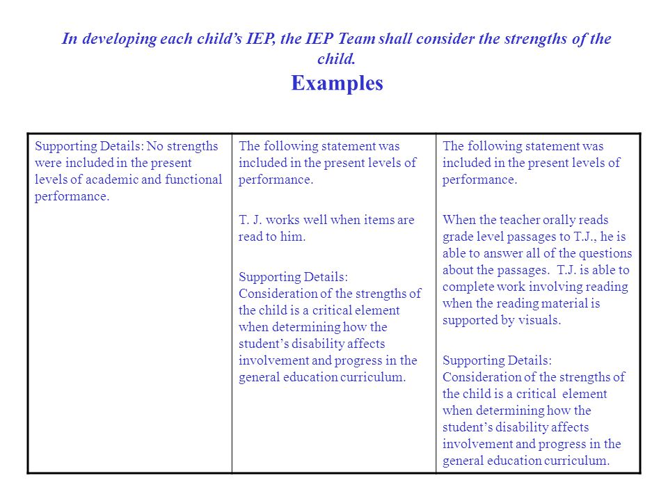 In developing each child's IEP, the IEP Team shall consider the strengths of the child.