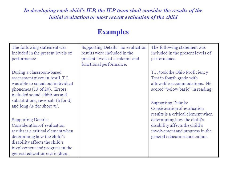 In developing each child's IEP, the IEP team shall consider the results of the initial evaluation or most recent evaluation of the child