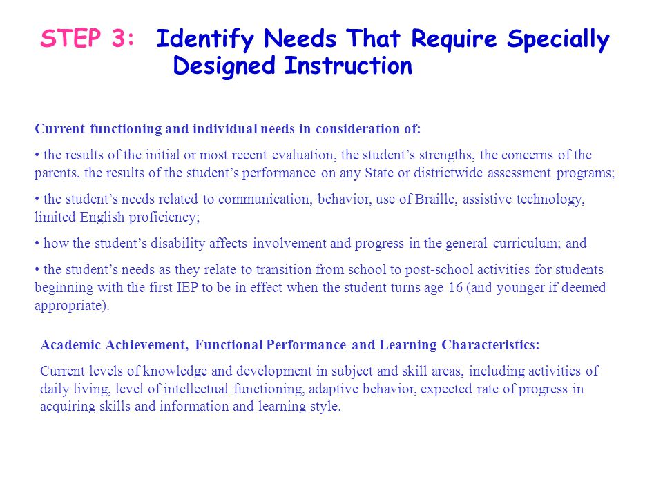 STEP 3: Identify Needs That Require Specially Designed Instruction