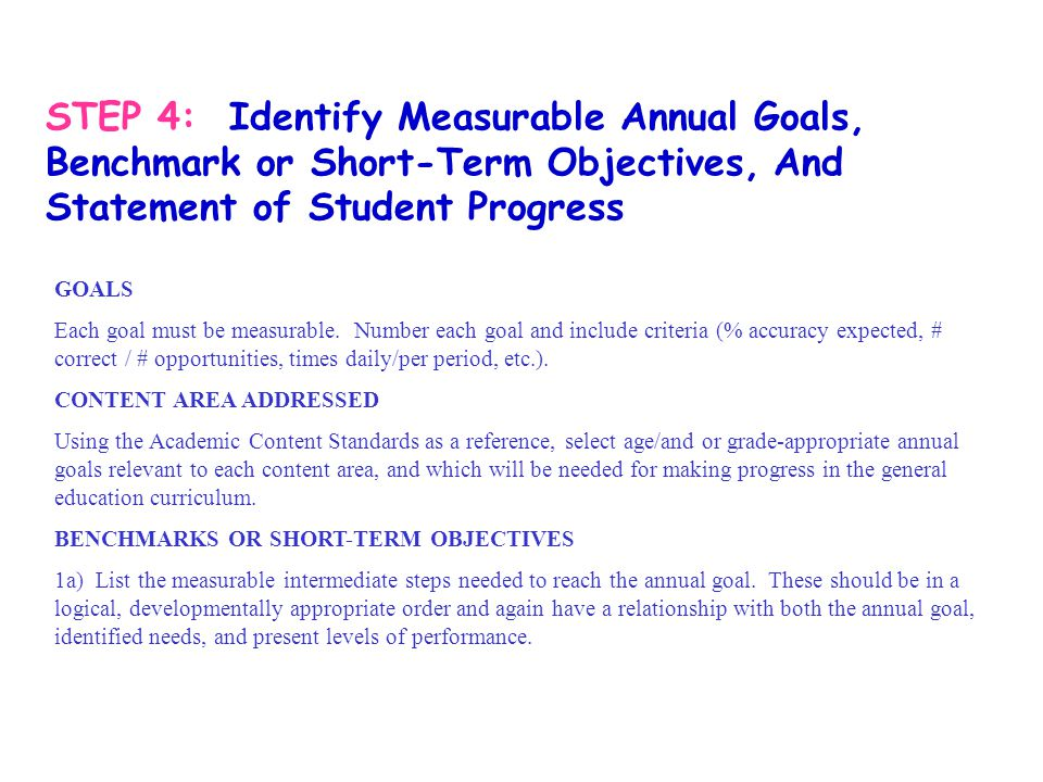 STEP 4: Identify Measurable Annual Goals, Benchmark or Short-Term Objectives, And Statement of Student Progress