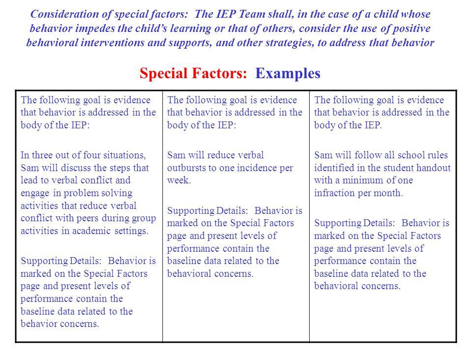 Special Factors: Examples
