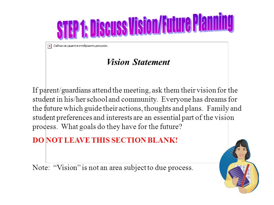 STEP 1: Discuss Vision/Future Planning