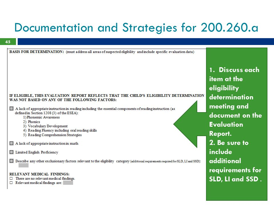 Documentation and Strategies for 200.260.a