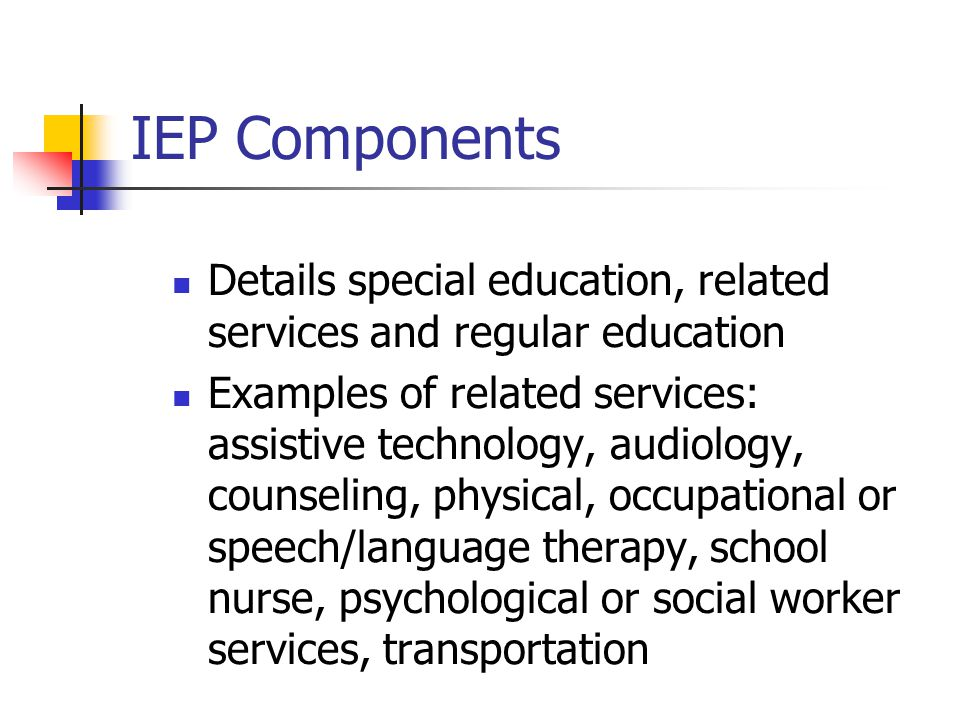 IEP Components Details special education, related services and regular education.