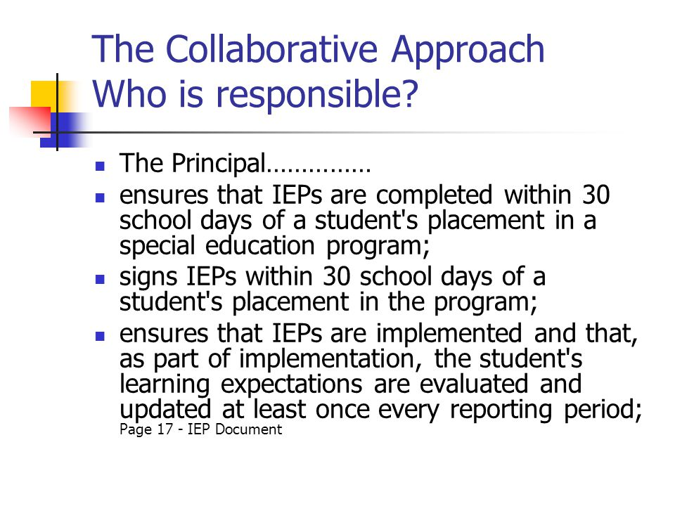 The Collaborative Approach Who is responsible