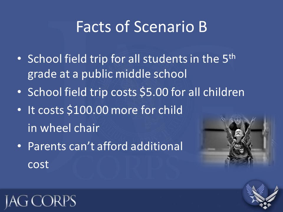 Facts of Scenario B School field trip for all students in the 5th grade at a public middle school. School field trip costs $5.00 for all children.