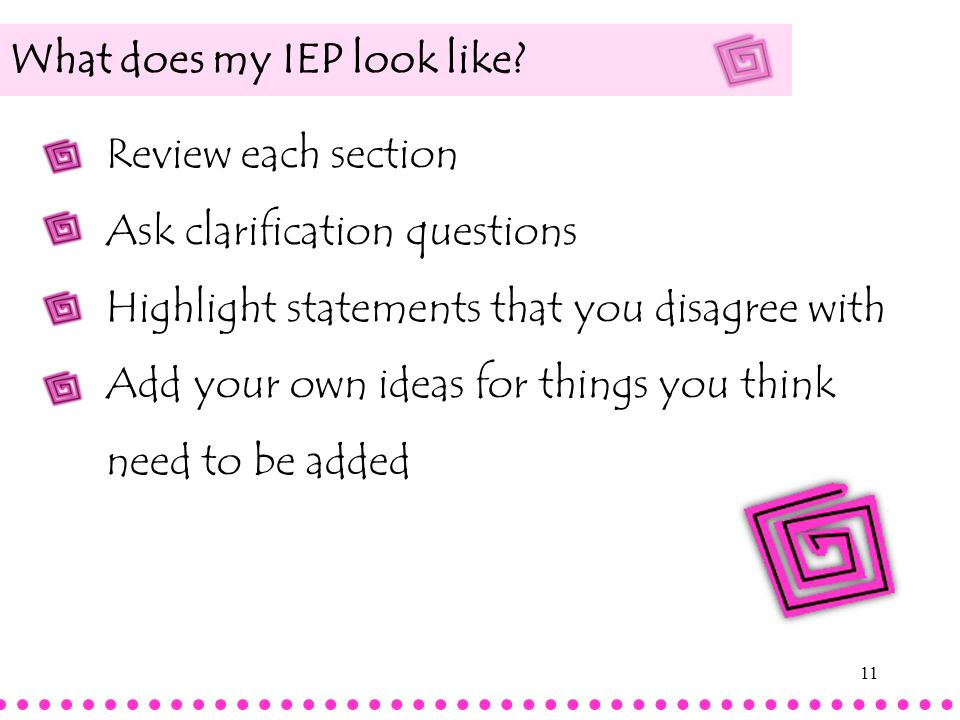 What does my IEP look like
