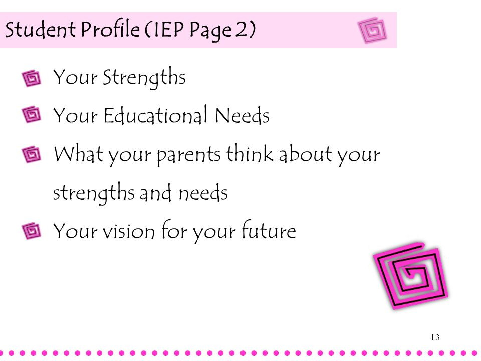Student Profile (IEP Page 2)