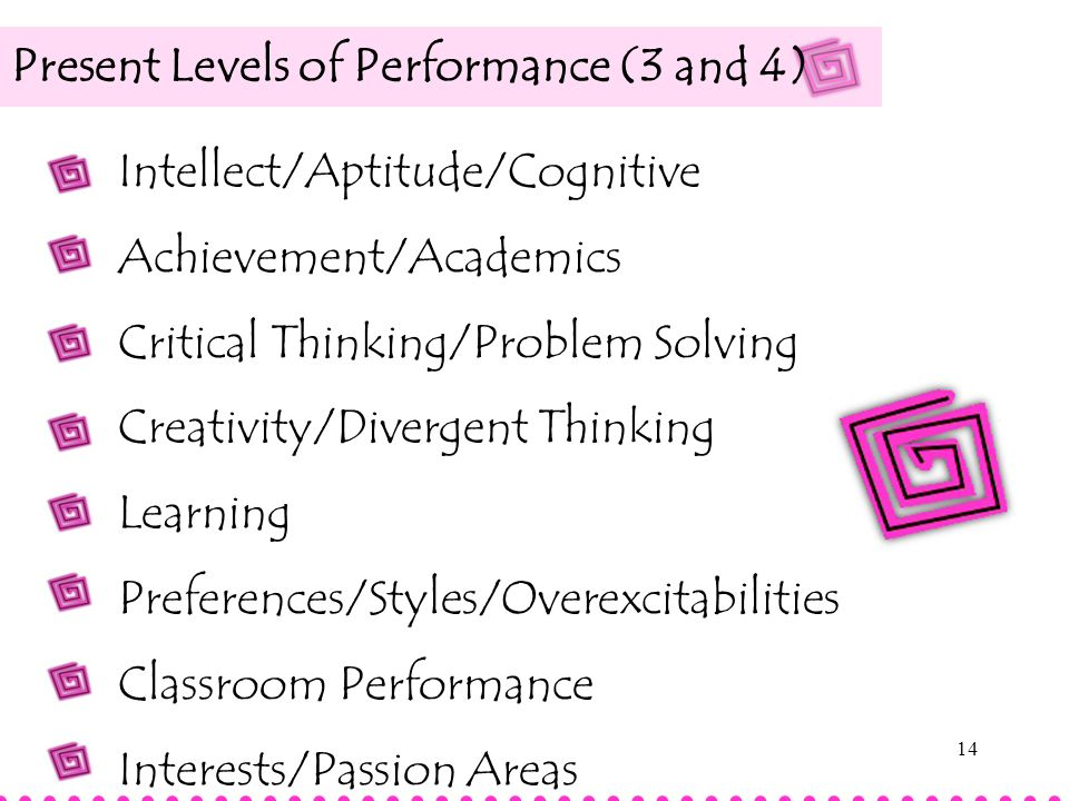 Present Levels of Performance (3 and 4)