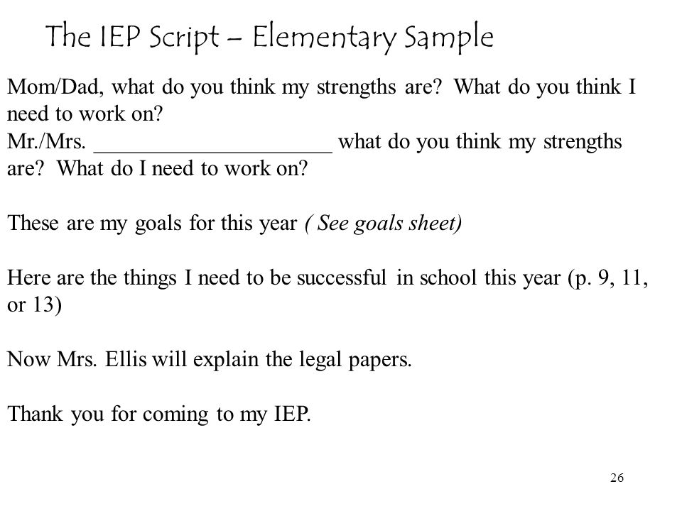 The IEP Script – Elementary Sample
