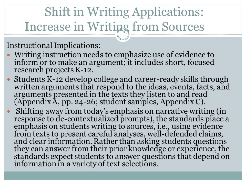 Shift in Writing Applications: Increase in Writing from Sources