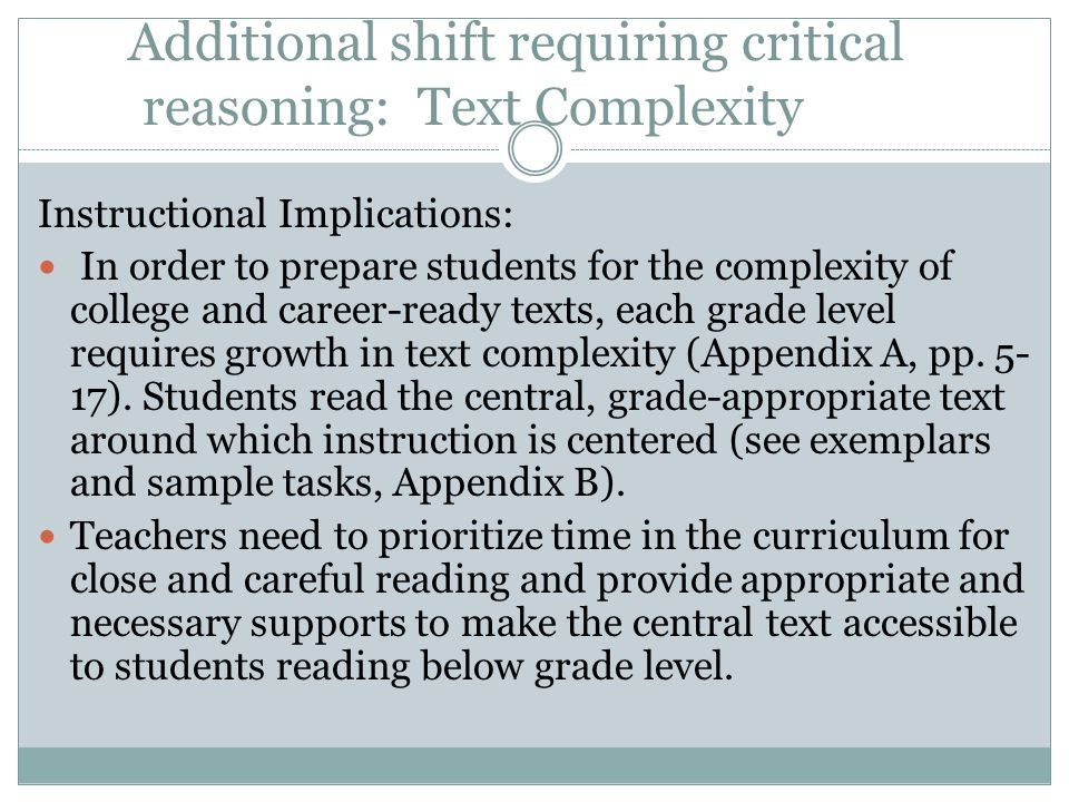 Additional shift requiring critical reasoning: Text Complexity
