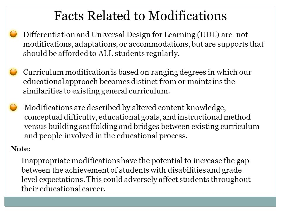 Facts Related to Modifications
