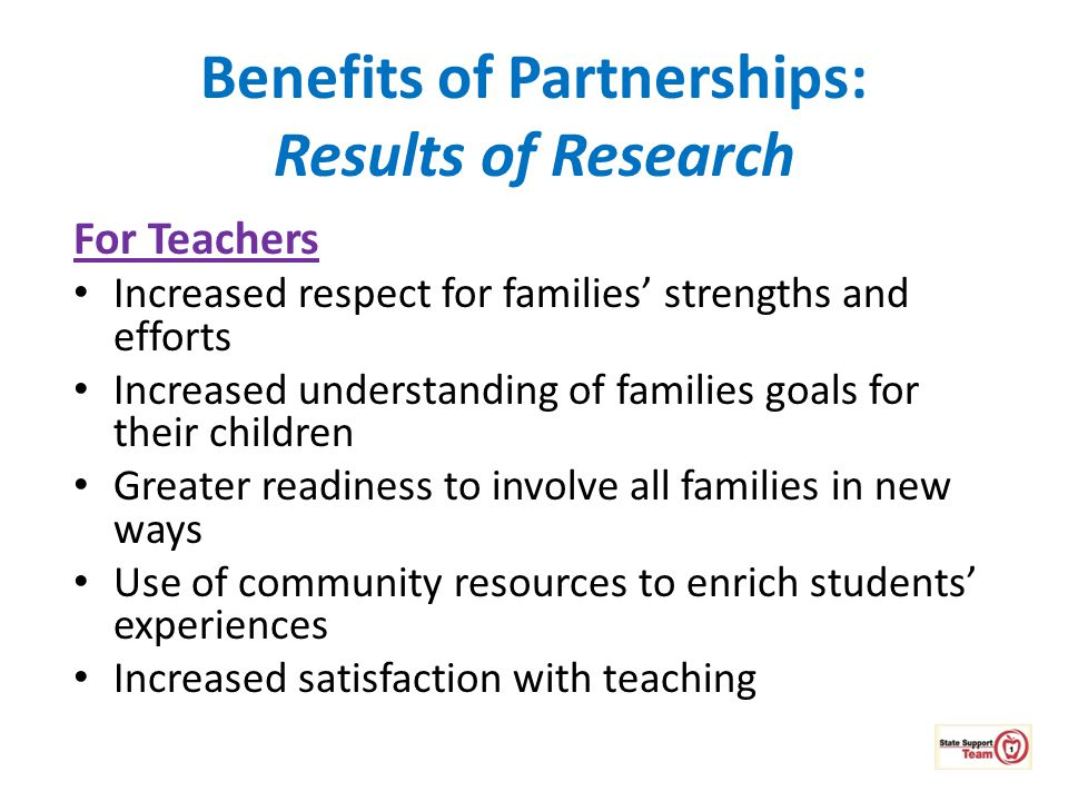 Benefits of Partnerships: Results of Research