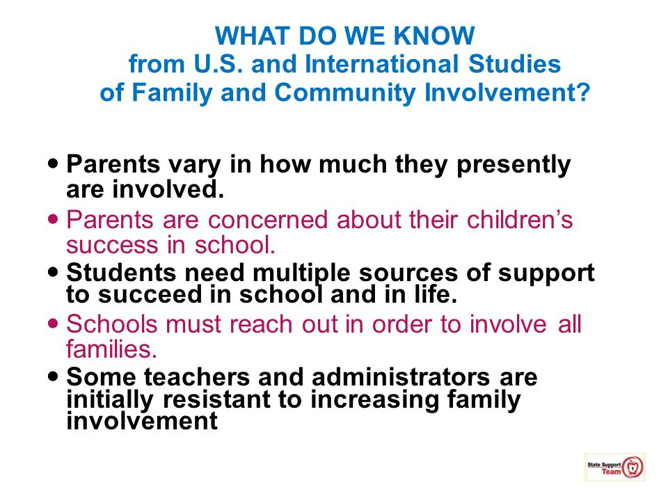 Parents vary in how much they presently are involved.