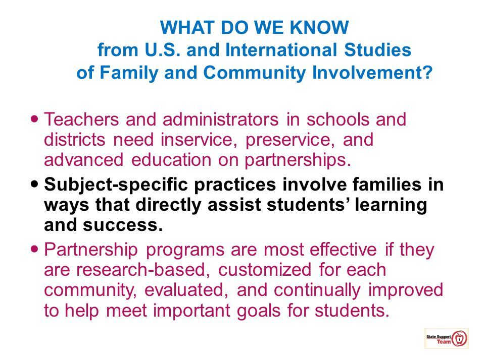 4/12/2017 WHAT DO WE KNOW from U.S. and International Studies of Family and Community Involvement