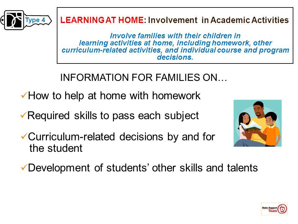 Involve families with their children in