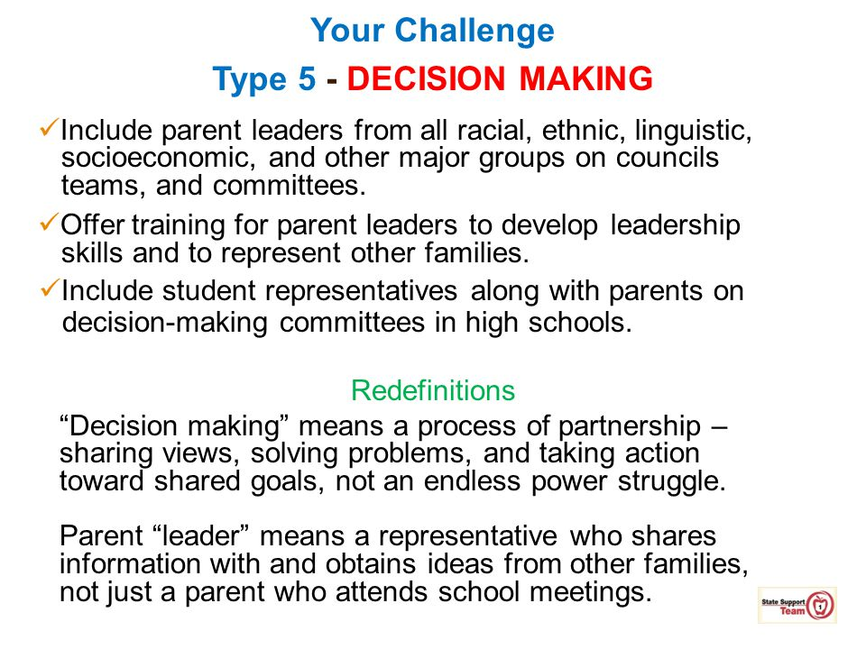 Your Challenge Type 5 - DECISION MAKING