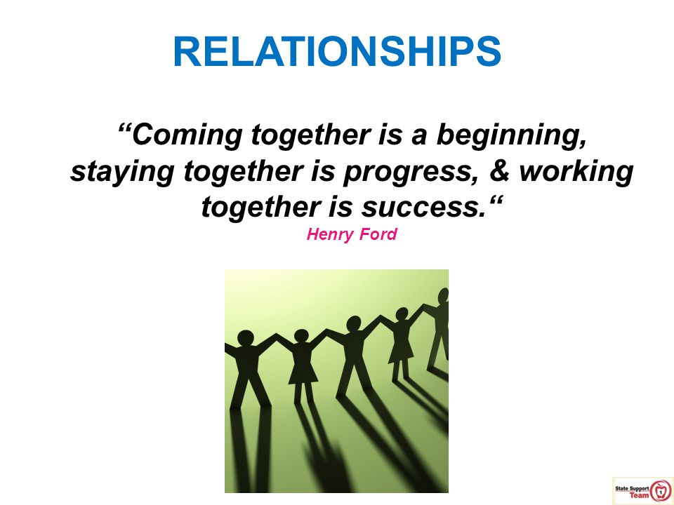 RELATIONSHIPS Coming together is a beginning,