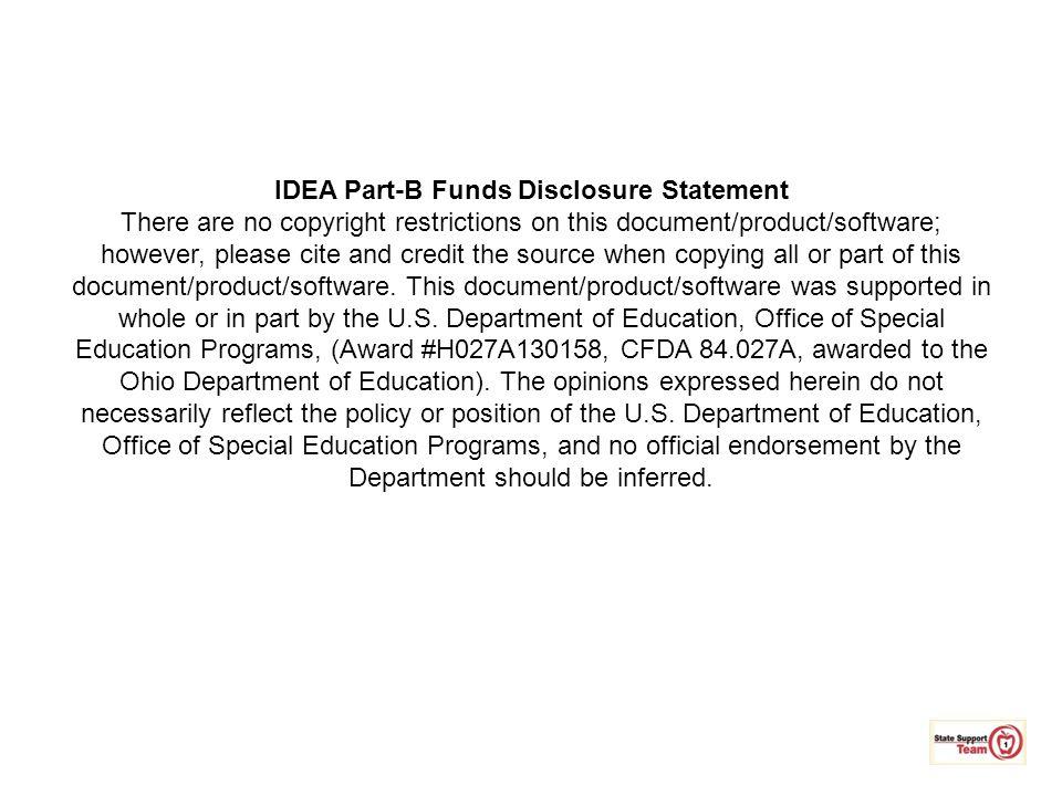 IDEA Part-B Funds Disclosure Statement