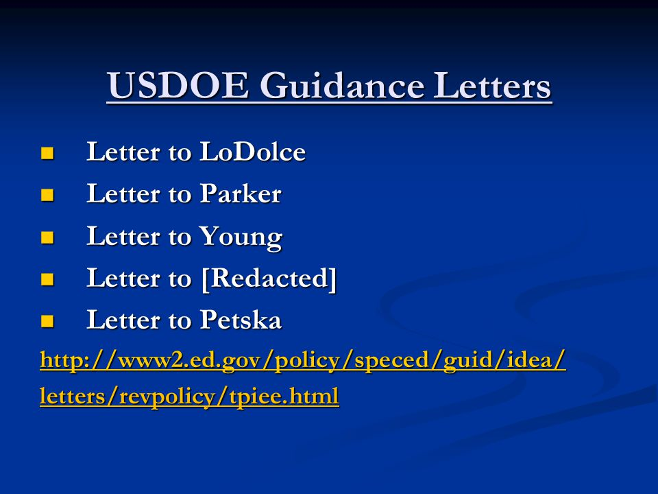 USDOE Guidance Letters