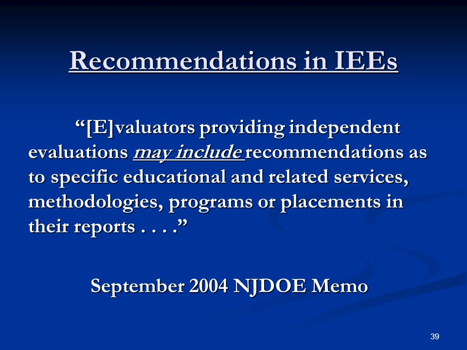Recommendations in IEEs