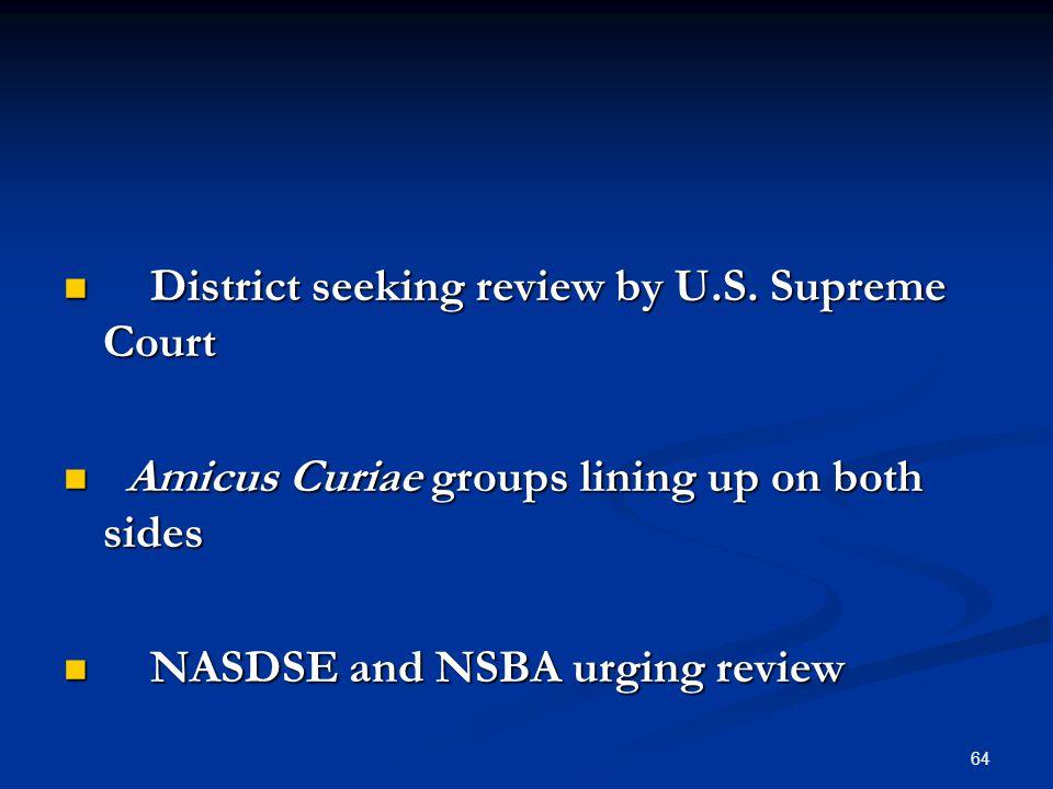 District seeking review by U.S. Supreme Court