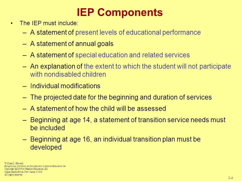 IEP Components The IEP must include: A statement of present levels of educational performance. A statement of annual goals.