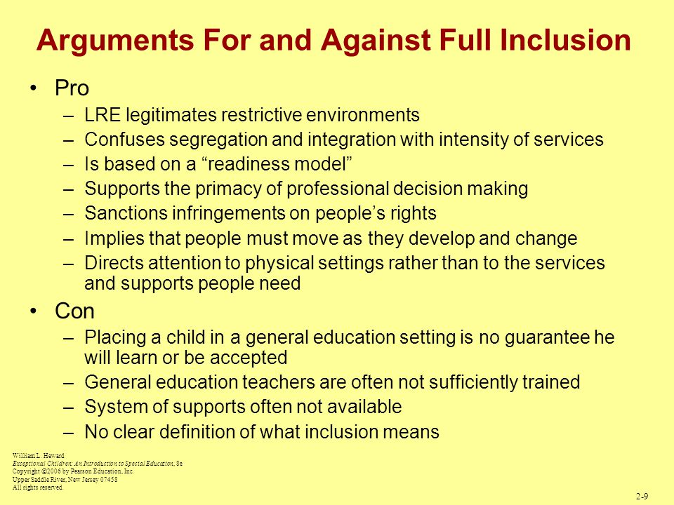 Arguments For and Against Full Inclusion