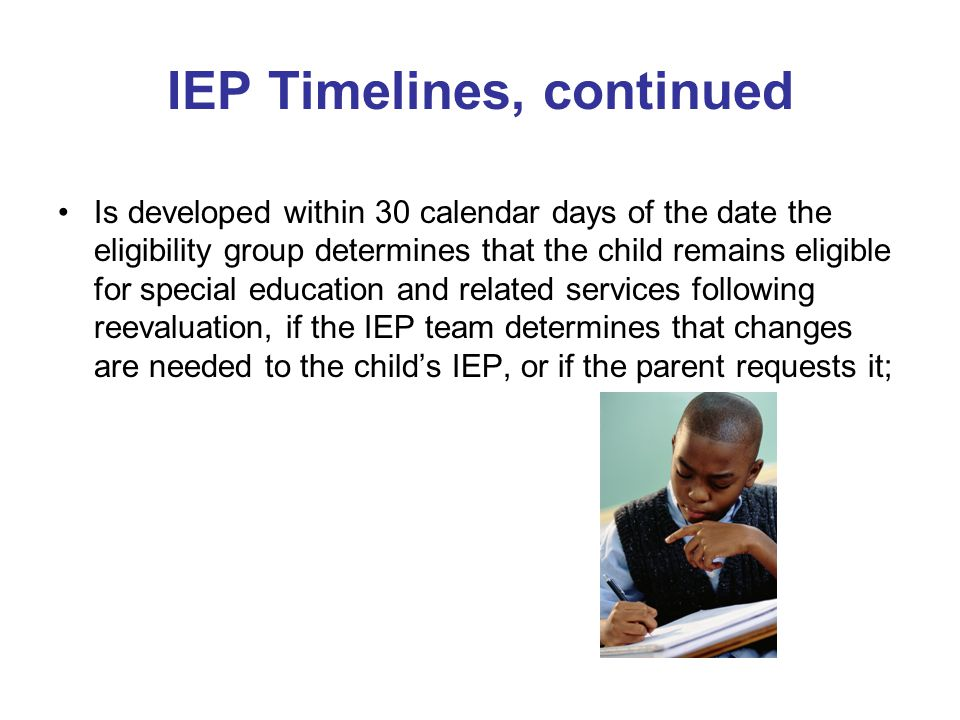 IEP Timelines, continued