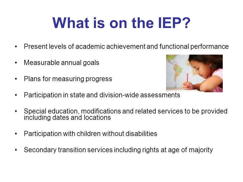 What is on the IEP Present levels of academic achievement and functional performance. Measurable annual goals.