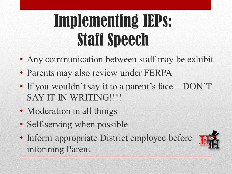 Implementing IEPs: Staff Speech
