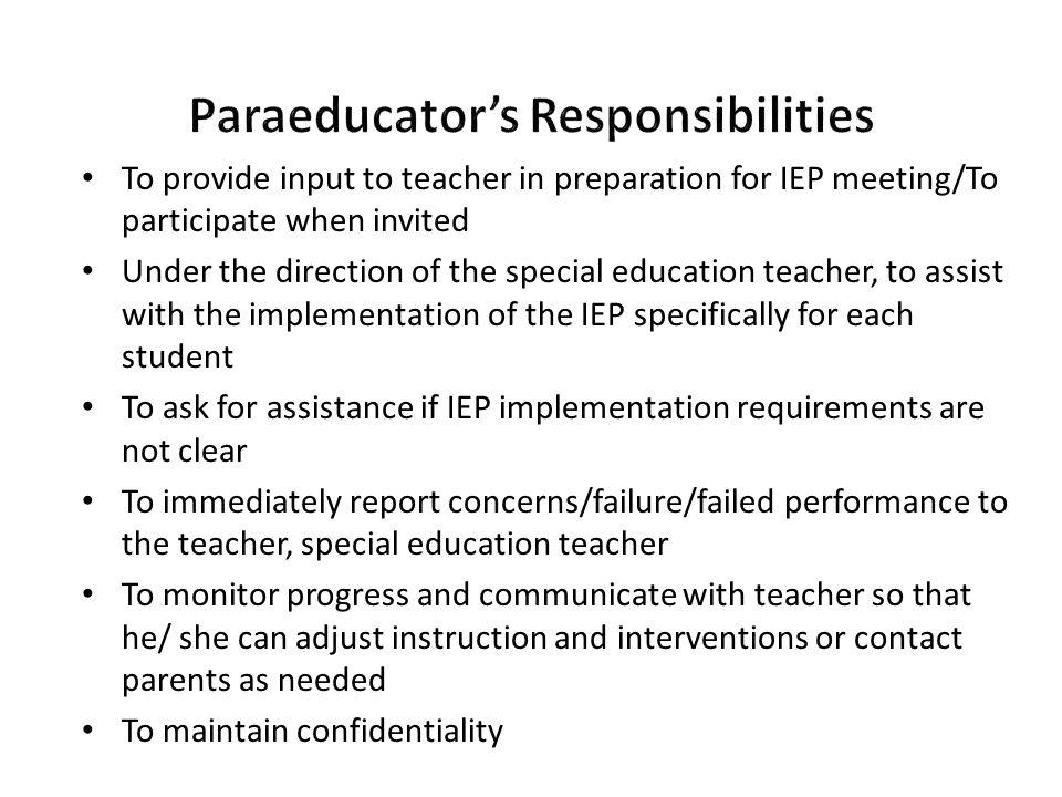 Paraeducator's Responsibilities