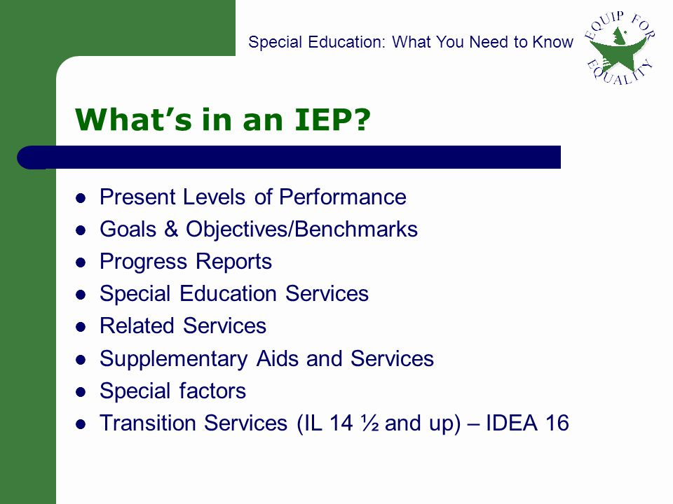 What's in an IEP Present Levels of Performance