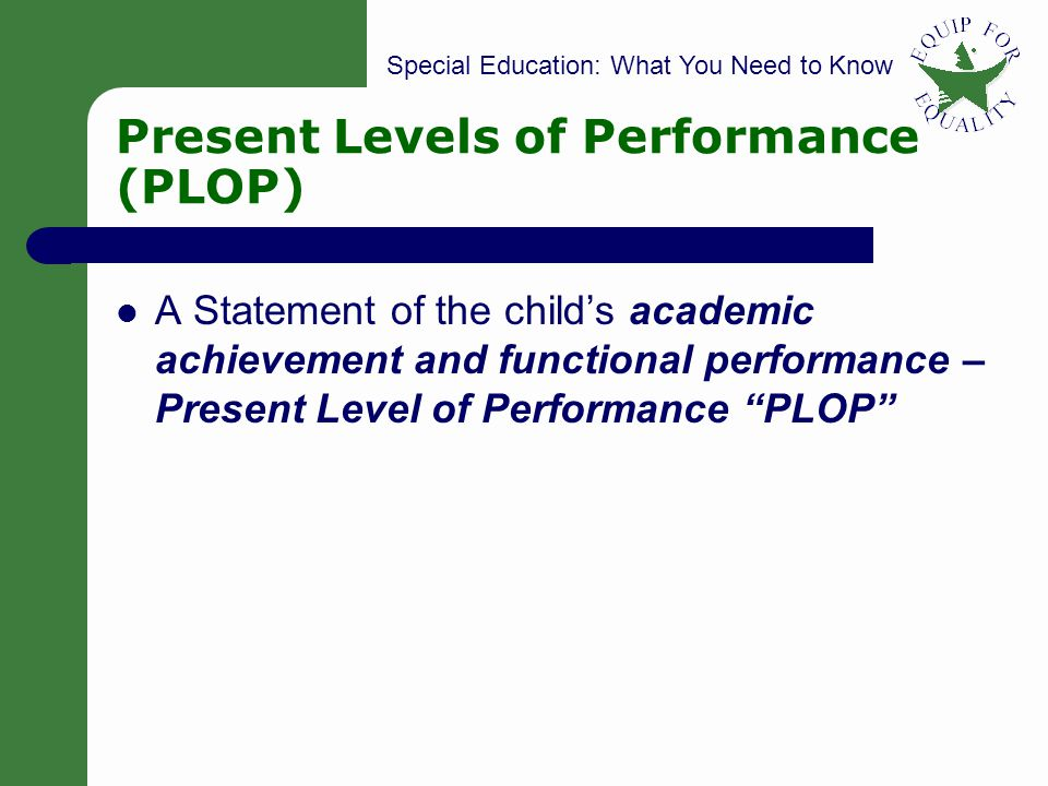 Present Levels of Performance (PLOP)