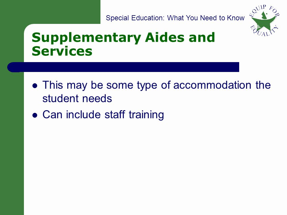 Supplementary Aides and Services