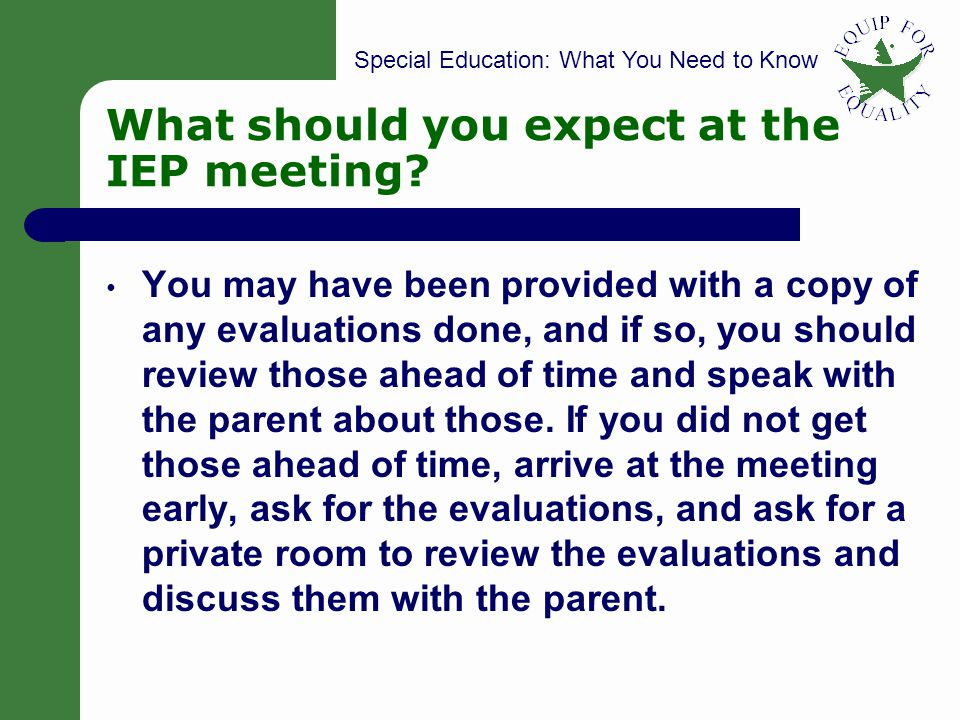 What should you expect at the IEP meeting