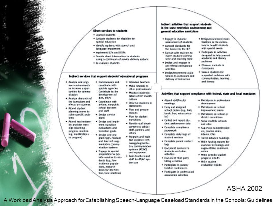 ASHA 2002 A Workload Analysis Approach for Establishing Speech-Language Caseload Standards in the Schools: Guidelines.