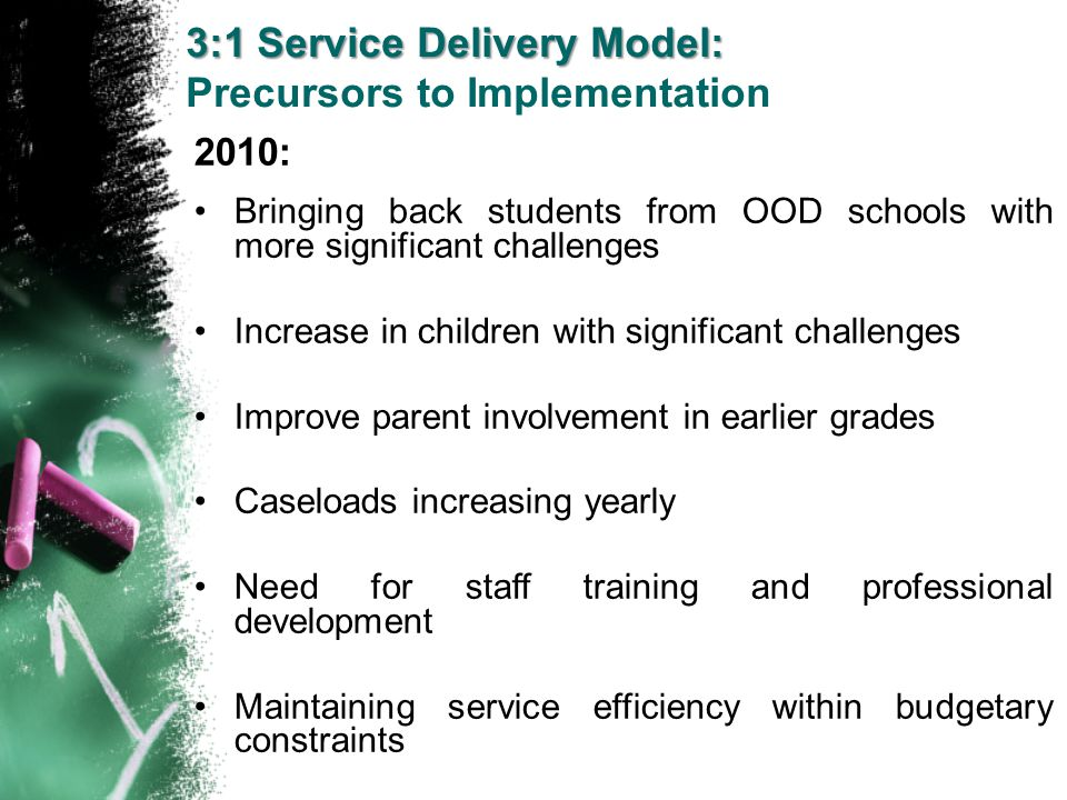 3:1 Service Delivery Model: Precursors to Implementation