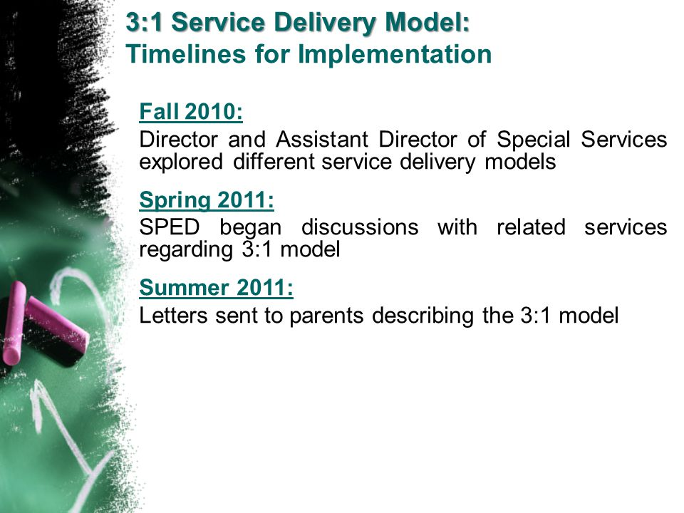 3:1 Service Delivery Model: Timelines for Implementation