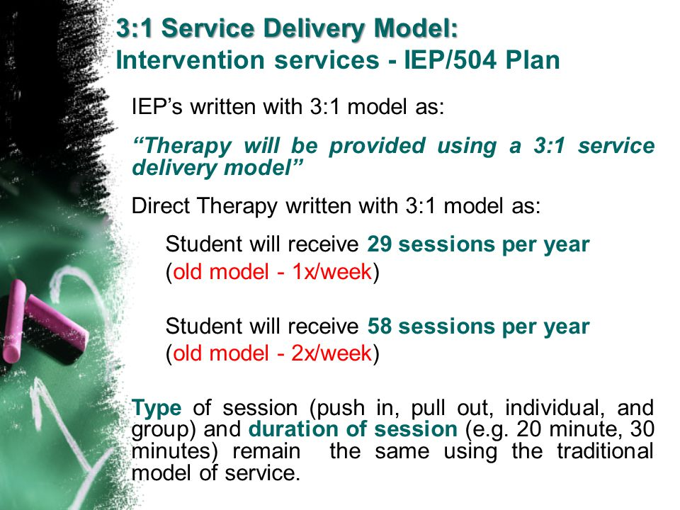 3:1 Service Delivery Model: Intervention services - IEP/504 Plan