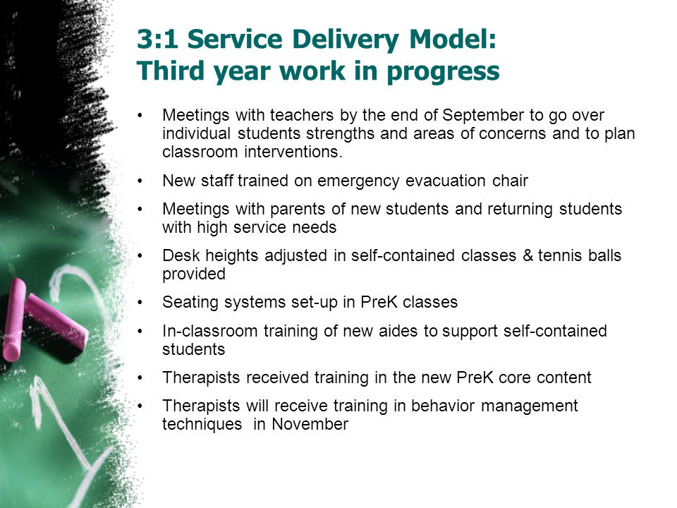 3:1 Service Delivery Model: Third year work in progress