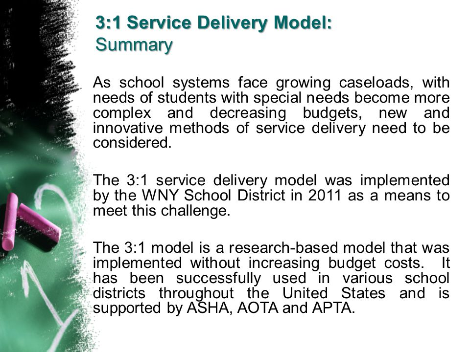 3:1 Service Delivery Model: Summary