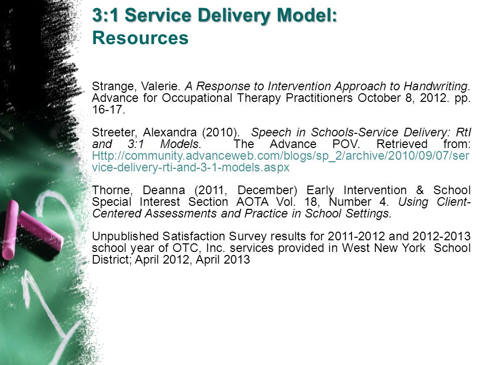 3:1 Service Delivery Model: Resources