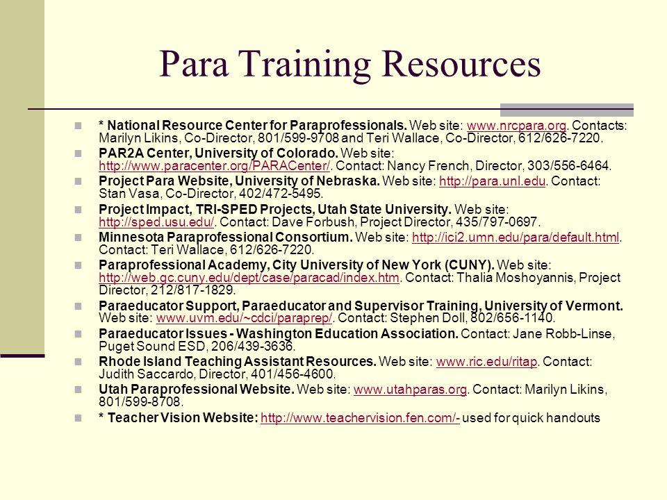 Para Training Resources