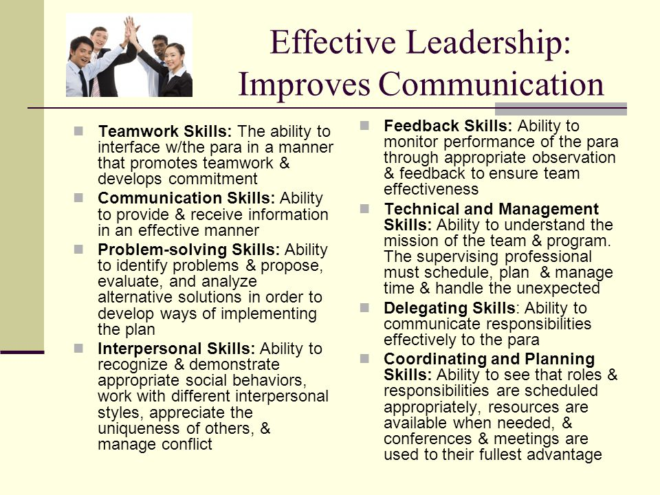 Effective Leadership: Improves Communication